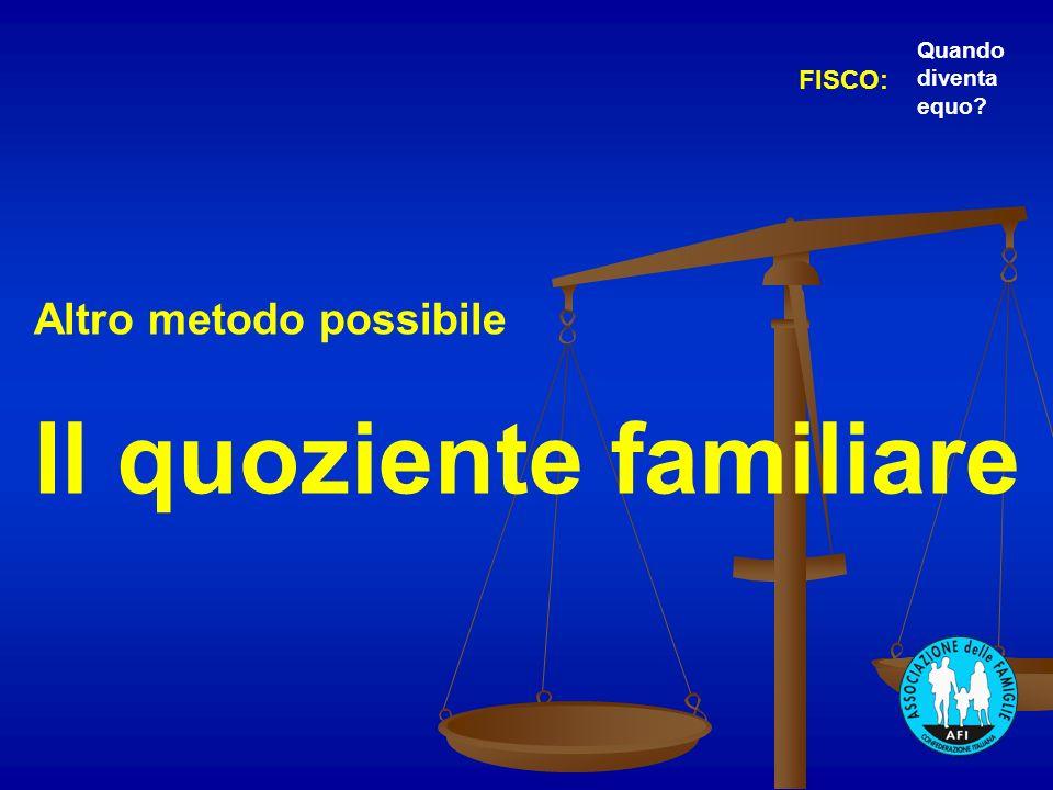 Altro metodo possibile Il quoziente familiare FISCO: Quando diventa equo?
