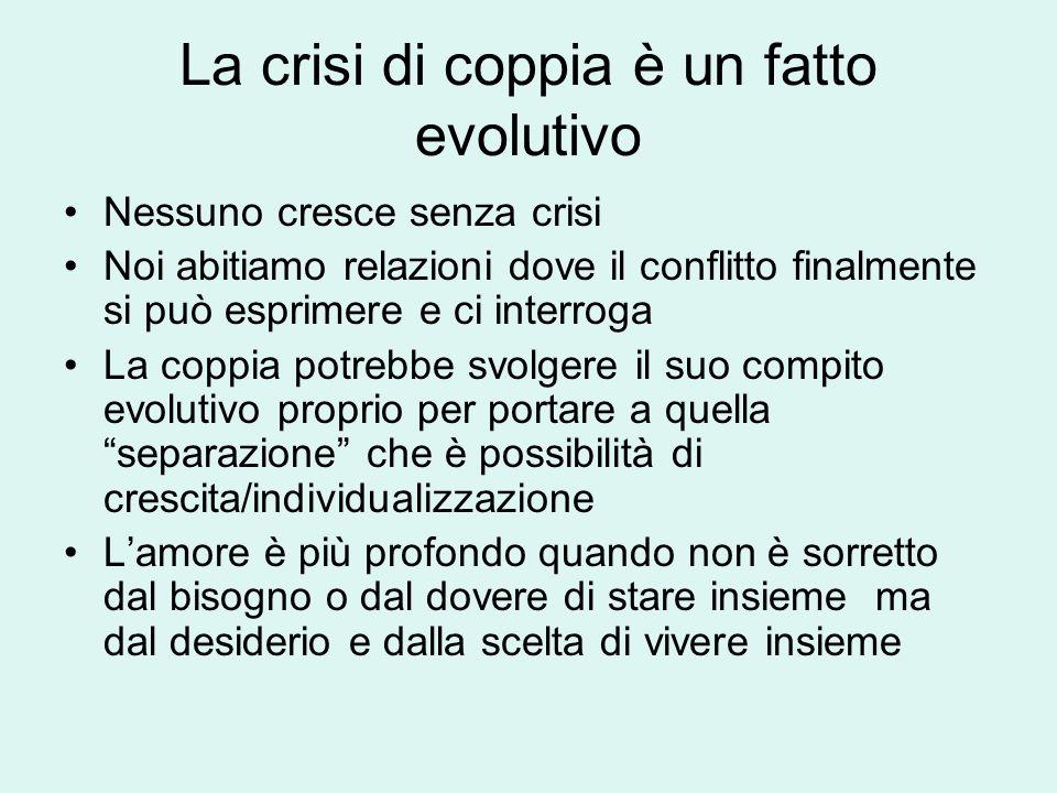 La crisi di coppia è un fatto evolutivo Nessuno cresce senza crisi Noi abitiamo relazioni dove il conflitto finalmente si può esprimere e ci interroga