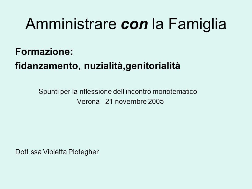 Amministrare con la Famiglia Formazione: fidanzamento, nuzialità,genitorialità Spunti per la riflessione dellincontro monotematico Verona 21 novembre