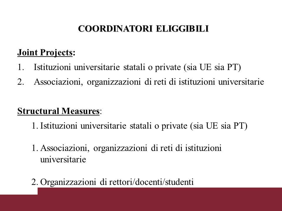 COORDINATORI ELIGGIBILI COORDINATORI ELIGGIBILI Joint Projects: 1.Istituzioni universitarie statali o private (sia UE sia PT) 2.Associazioni, organizzazioni di reti di istituzioni universitarie Structural Measures: 1.Istituzioni universitarie statali o private (sia UE sia PT) 1.Associazioni, organizzazioni di reti di istituzioni universitarie 2.Organizzazioni di rettori/docenti/studenti