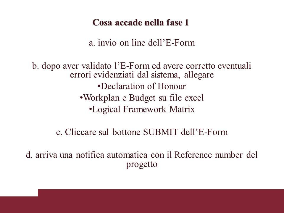 a. invio on line dellE-Form b.