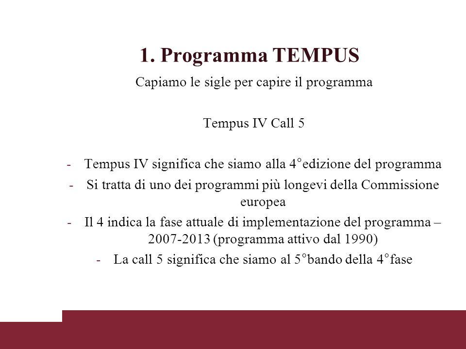 1. Programma TEMPUS Capiamo le sigle per capire il programma Tempus IV Call 5 -Tempus IV significa che siamo alla 4°edizione del programma -Si tratta