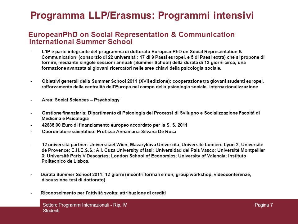 Settore Programmi Internazionali - Rip.