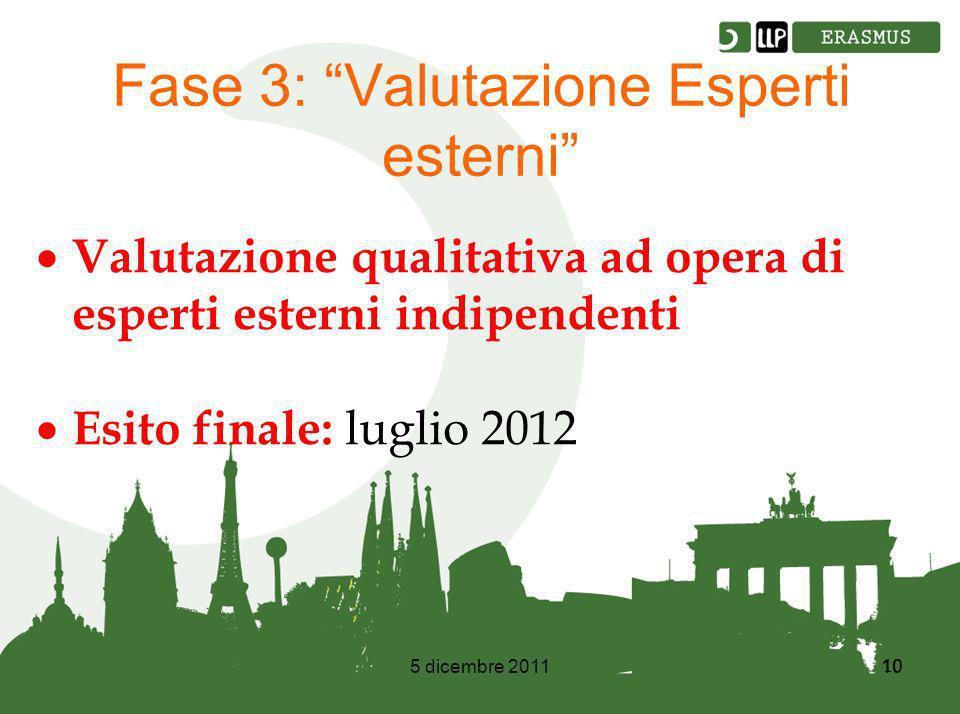 5 dicembre 201110 Fase 3: Valutazione Esperti esterni Valutazione qualitativa ad opera di esperti esterni indipendenti Esito finale: luglio 2012