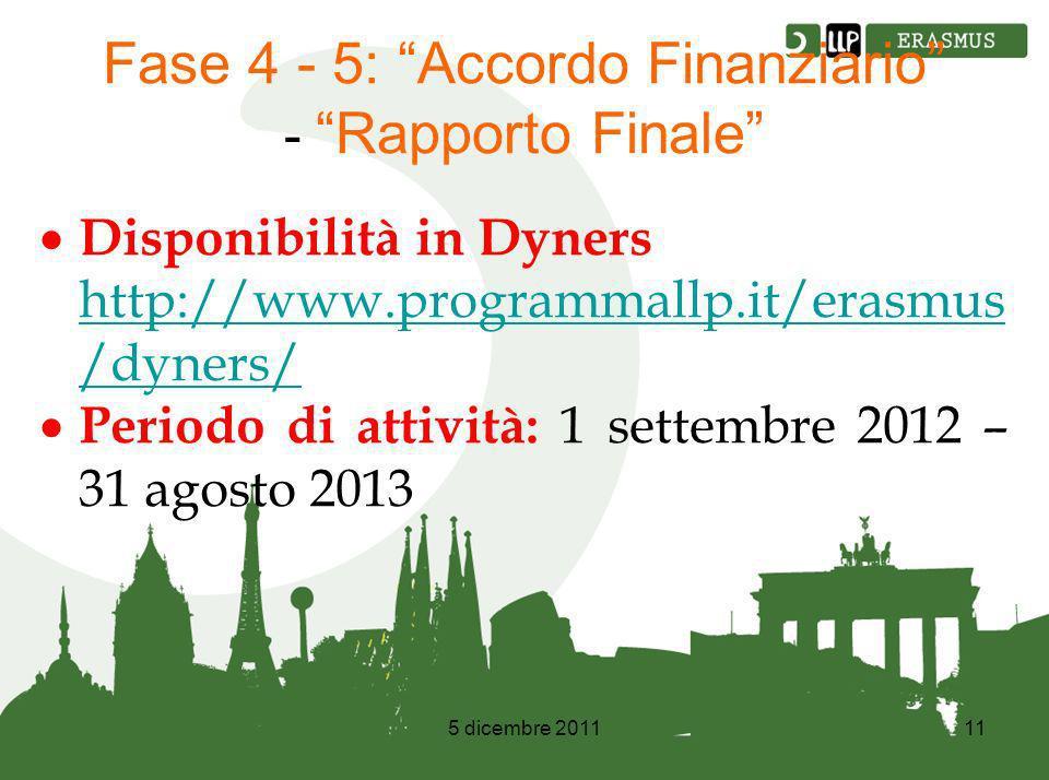 5 dicembre 201111 Fase 4 - 5: Accordo Finanziario - Rapporto Finale Disponibilità in Dyners http://www.programmallp.it/erasmus /dyners/ http://www.programmallp.it/erasmus /dyners/ Periodo di attività: 1 settembre 2012 – 31 agosto 2013