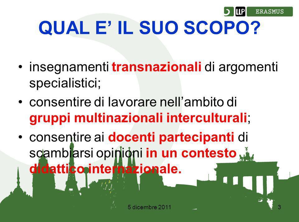 5 dicembre 20113 QUAL E IL SUO SCOPO.