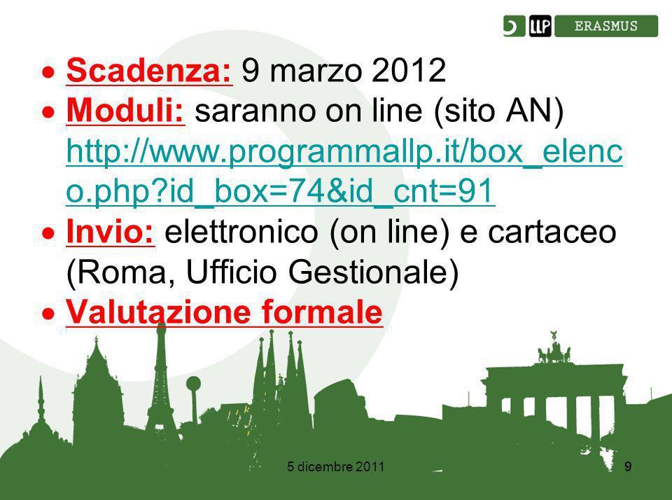 5 dicembre 20119 9 Scadenza: 9 marzo 2012 Moduli: saranno on line (sito AN) http://www.programmallp.it/box_elenc o.php?id_box=74&id_cnt=91 http://www.programmallp.it/box_elenc o.php?id_box=74&id_cnt=91 Invio: elettronico (on line) e cartaceo (Roma, Ufficio Gestionale) Valutazione formale