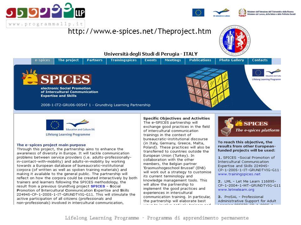 http://www.e-spices.net/Theproject.htm Università degli Studi di Perugia - ITALY