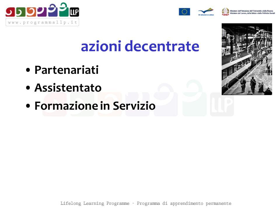 azioni decentrate Partenariati Assistentato Formazione in Servizio