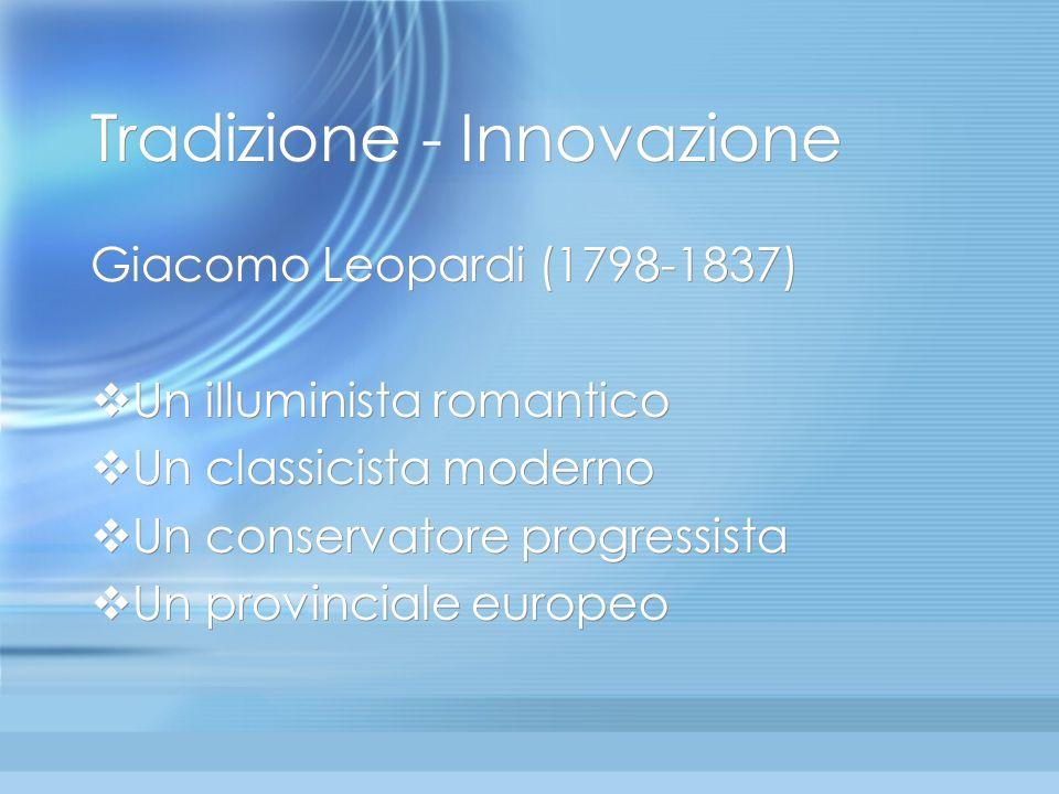 LInfinito di Leopardi Innovazione nella tradizione