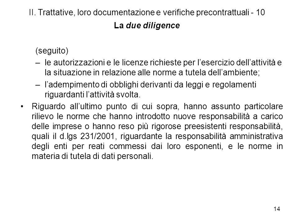 14 II. Trattative, loro documentazione e verifiche precontrattuali - 10 La due diligence (seguito) –le autorizzazioni e le licenze richieste per leser