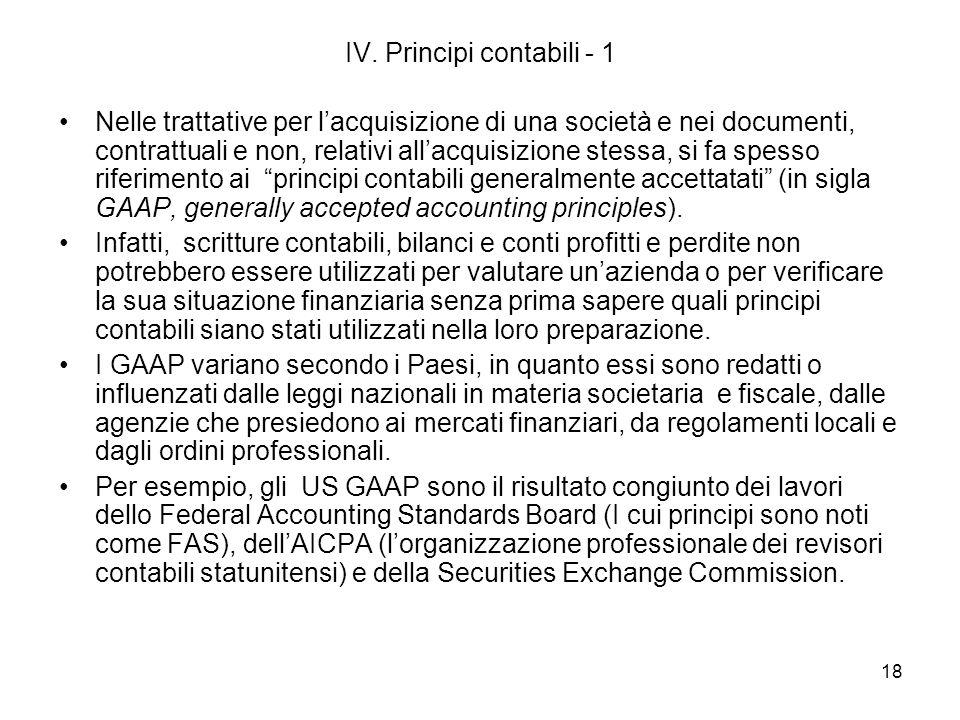 18 IV. Principi contabili - 1 Nelle trattative per lacquisizione di una società e nei documenti, contrattuali e non, relativi allacquisizione stessa,