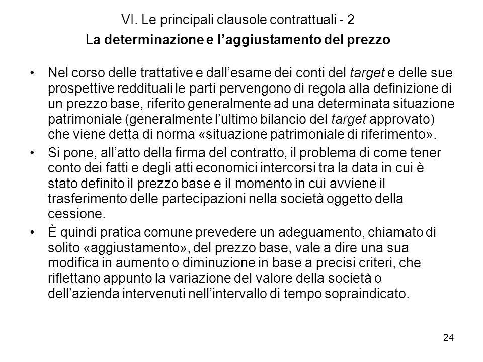 24 VI. Le principali clausole contrattuali - 2 La determinazione e laggiustamento del prezzo Nel corso delle trattative e dallesame dei conti del targ