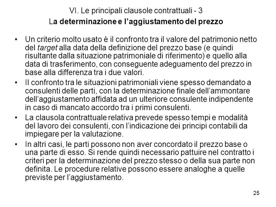 25 VI. Le principali clausole contrattuali - 3 La determinazione e laggiustamento del prezzo Un criterio molto usato è il confronto tra il valore del