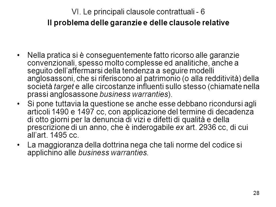 28 VI. Le principali clausole contrattuali - 6 Il problema delle garanzie e delle clausole relative Nella pratica si è conseguentemente fatto ricorso