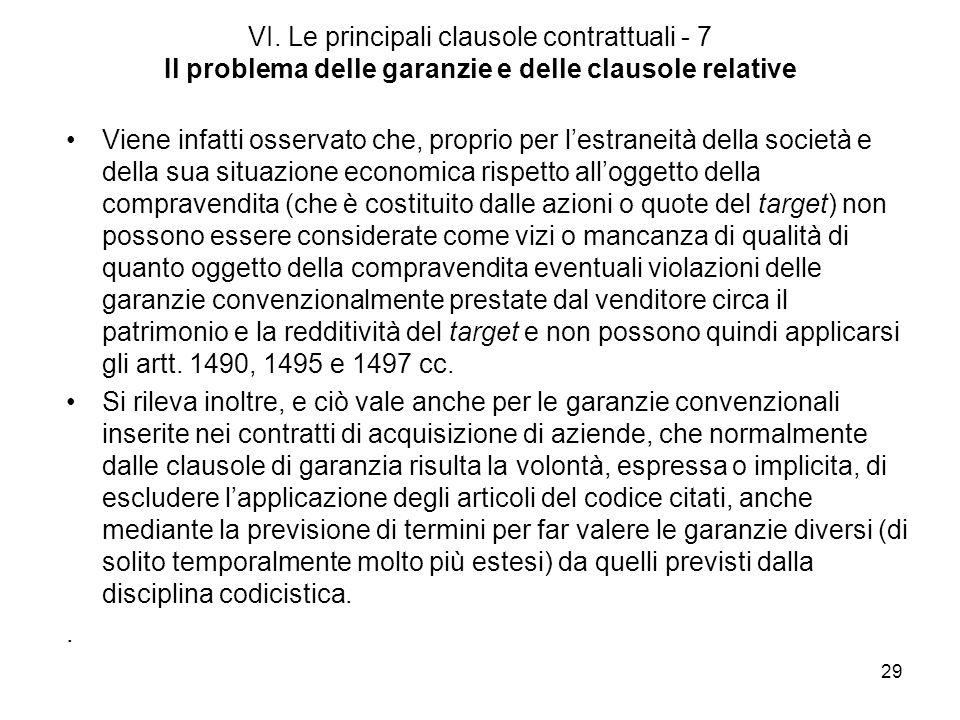 29 VI. Le principali clausole contrattuali - 7 Il problema delle garanzie e delle clausole relative Viene infatti osservato che, proprio per lestranei