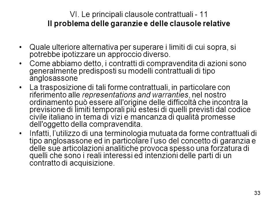 33 VI. Le principali clausole contrattuali - 11 Il problema delle garanzie e delle clausole relative Quale ulteriore alternativa per superare i limiti