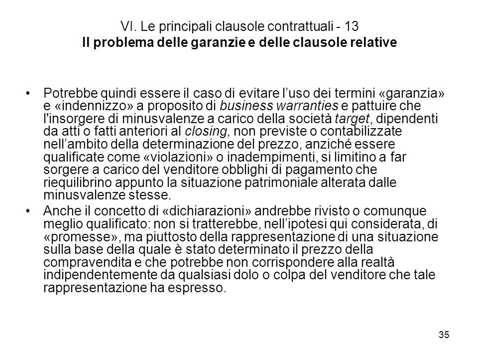 35 VI. Le principali clausole contrattuali - 13 Il problema delle garanzie e delle clausole relative Potrebbe quindi essere il caso di evitare luso de