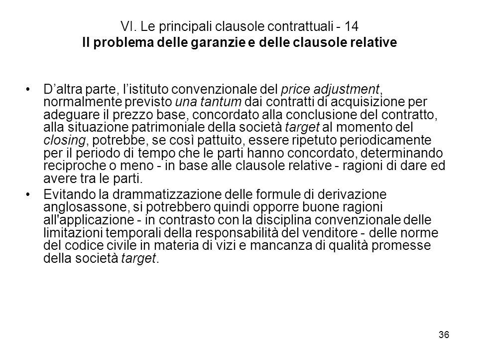 36 VI. Le principali clausole contrattuali - 14 Il problema delle garanzie e delle clausole relative Daltra parte, listituto convenzionale del price a