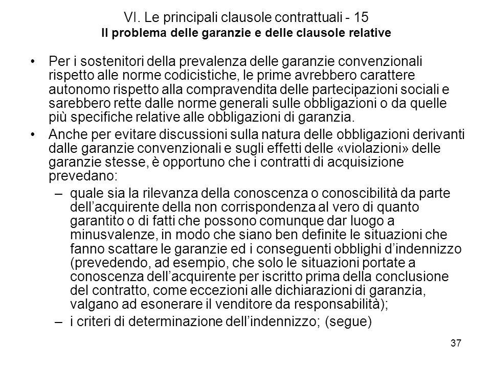 37 VI. Le principali clausole contrattuali - 15 Il problema delle garanzie e delle clausole relative Per i sostenitori della prevalenza delle garanzie