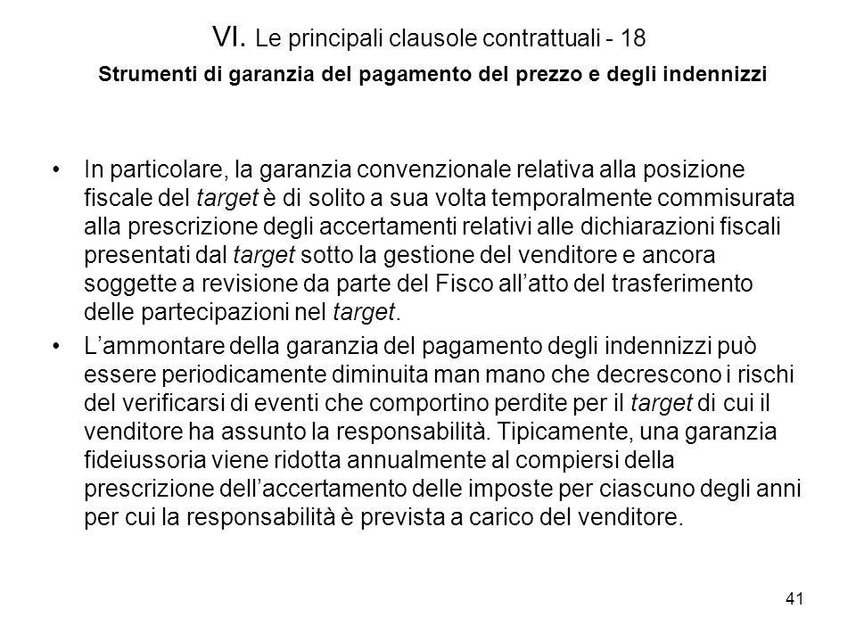 41 VI. Le principali clausole contrattuali - 18 Strumenti di garanzia del pagamento del prezzo e degli indennizzi In particolare, la garanzia convenzi