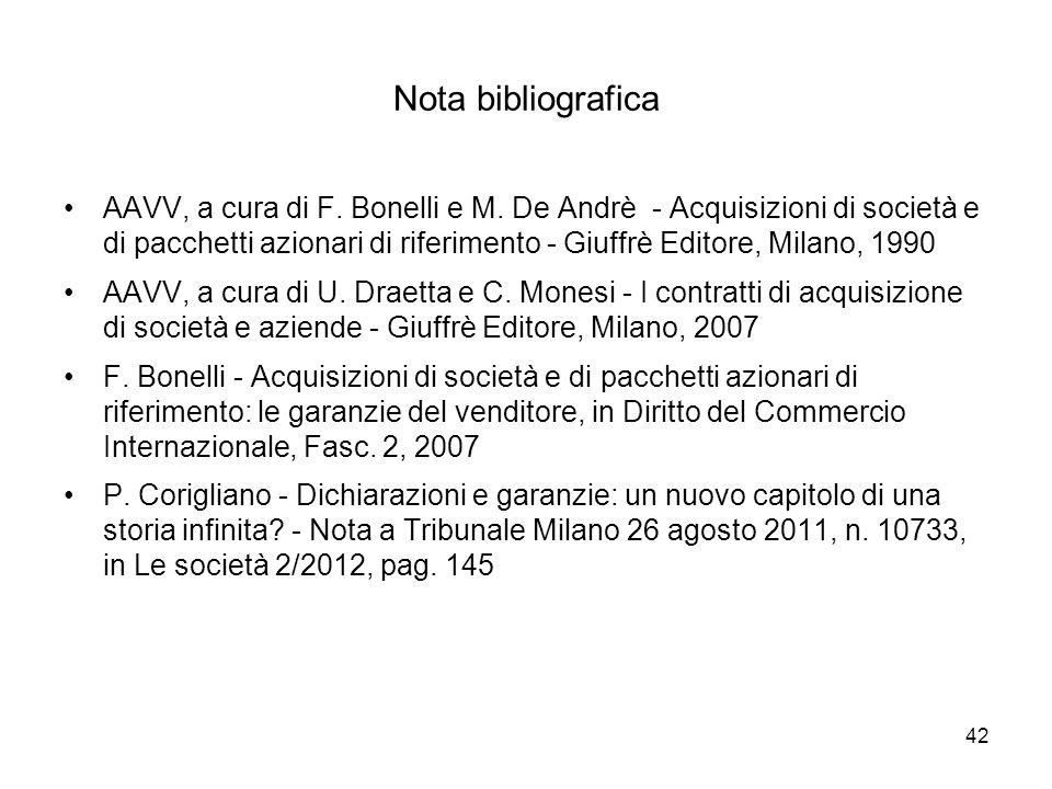 42 Nota bibliografica AAVV, a cura di F. Bonelli e M. De Andrè - Acquisizioni di società e di pacchetti azionari di riferimento - Giuffrè Editore, Mil