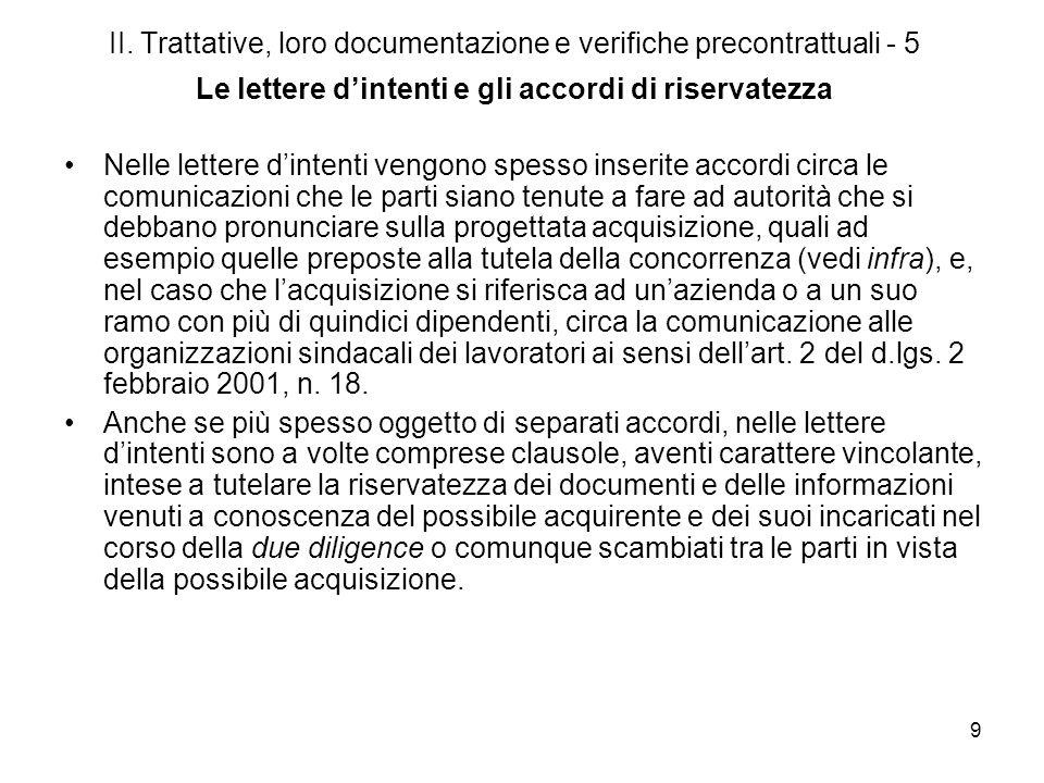 9 II. Trattative, loro documentazione e verifiche precontrattuali - 5 Le lettere dintenti e gli accordi di riservatezza Nelle lettere dintenti vengono