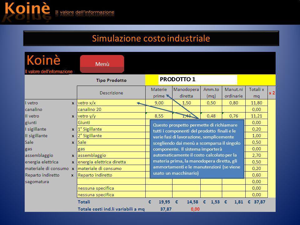 Simulazione costo industriale Questo prospetto permette di richiamare tutti i componenti del prodotto finali e le varie fasi di lavorazione, semplicemente scegliendo dai menù a scomparsa il singolo componente.