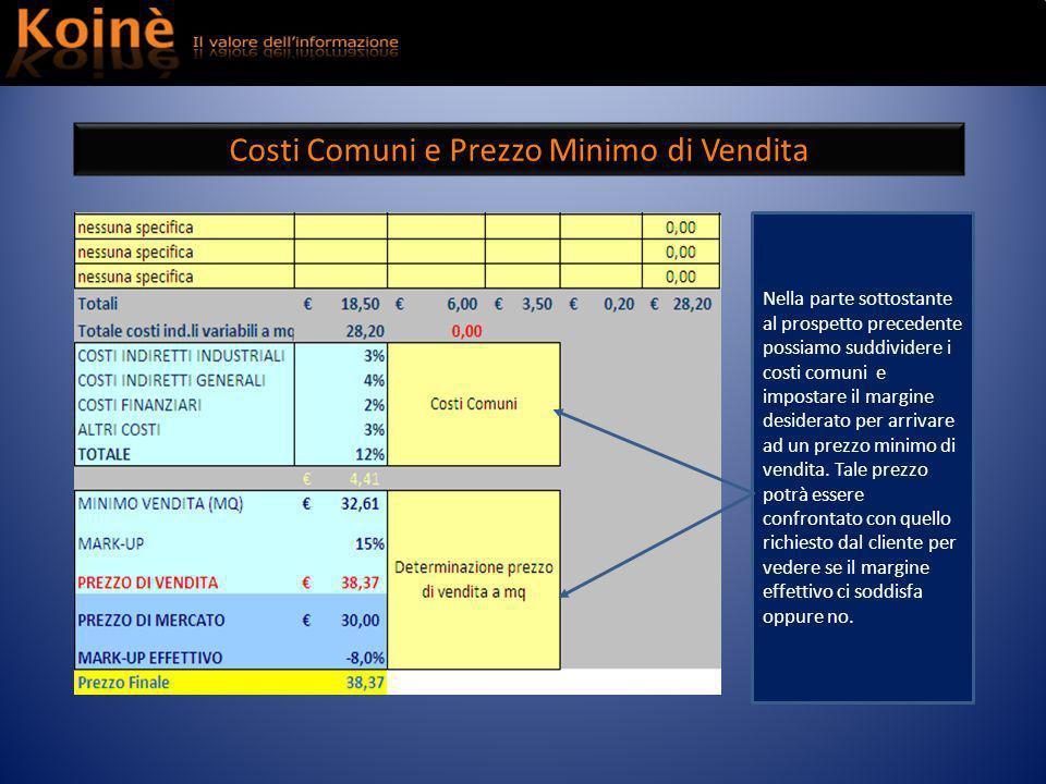 Costi Comuni e Prezzo Minimo di Vendita Nella parte sottostante al prospetto precedente possiamo suddividere i costi comuni e impostare il margine desiderato per arrivare ad un prezzo minimo di vendita.