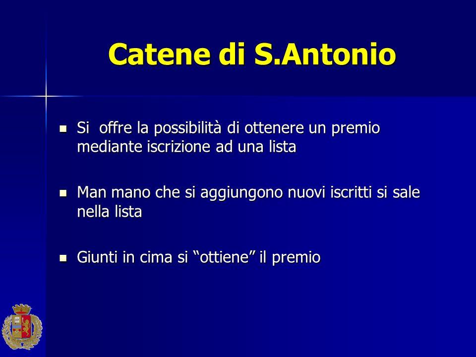 Catene di S.Antonio Si offre la possibilità di ottenere un premio mediante iscrizione ad una lista Si offre la possibilità di ottenere un premio media
