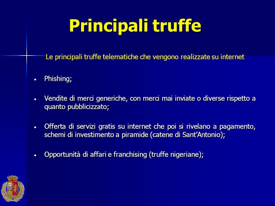 Principali truffe Phishing; Phishing; Vendite di merci generiche, con merci mai inviate o diverse rispetto a quanto pubblicizzato; Vendite di merci ge