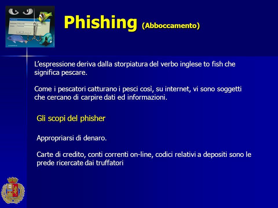Phishing (Abboccamento) Phishing (Abboccamento) Lespressione deriva dalla storpiatura del verbo inglese to fish che significa pescare. Come i pescator