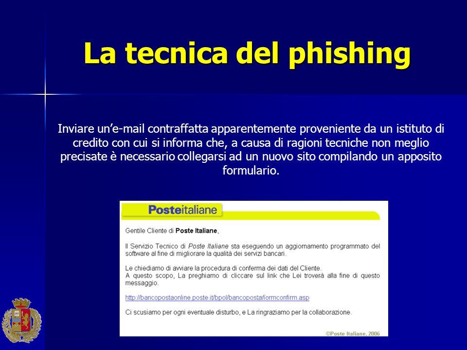 La tecnica del phishing Inviare une-mail contraffatta apparentemente proveniente da un istituto di credito con cui si informa che, a causa di ragioni