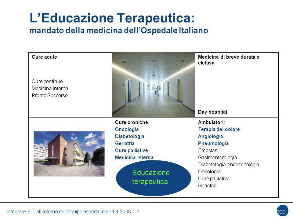 Integrare E.T allinterno delléquipe ospedaliera / 4.4.2008 / 2 LEducazione Terapeutica: mandato della medicina dellOspedale Italiano Cure acute Cure c