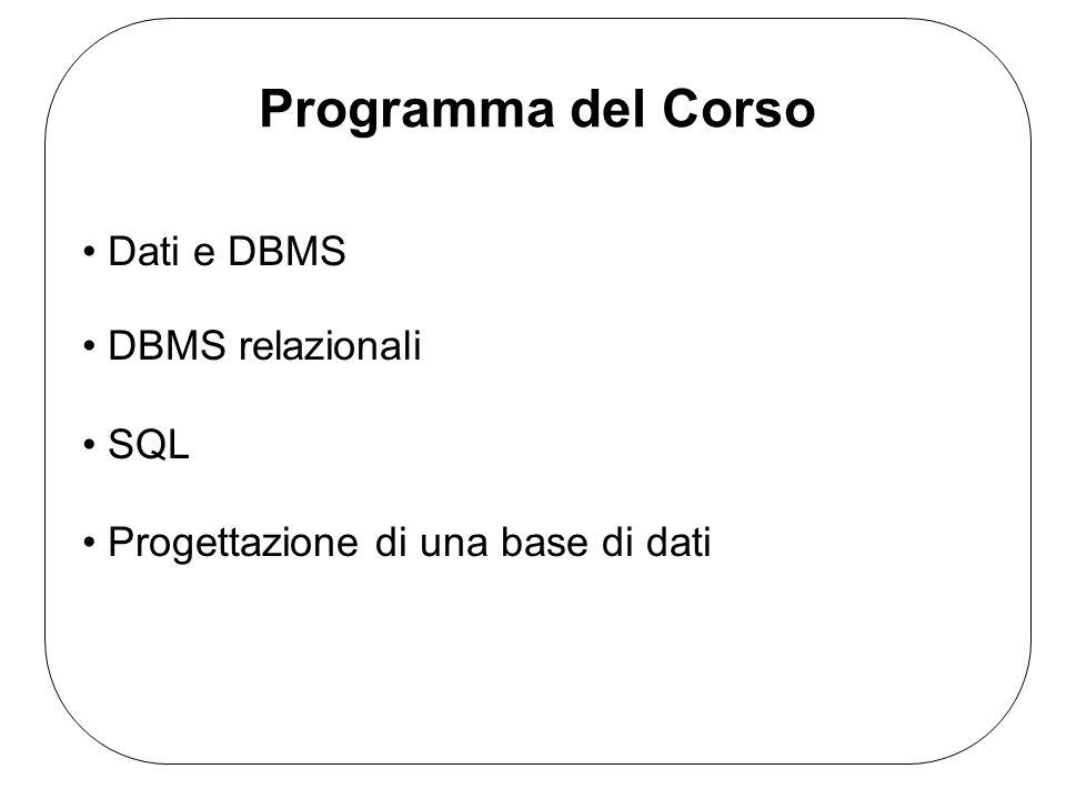 Dati e DBMS DBMS relazionali SQL Progettazione di una base di dati Programma del Corso