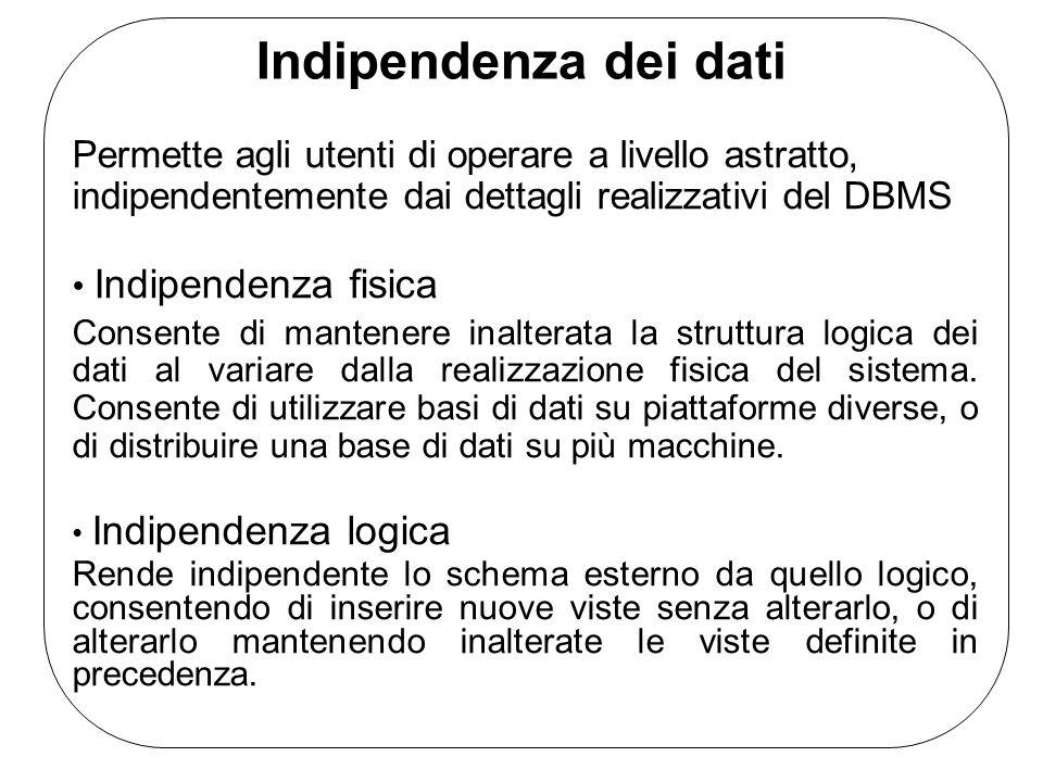 Indipendenza dei dati Permette agli utenti di operare a livello astratto, indipendentemente dai dettagli realizzativi del DBMS Indipendenza fisica Con