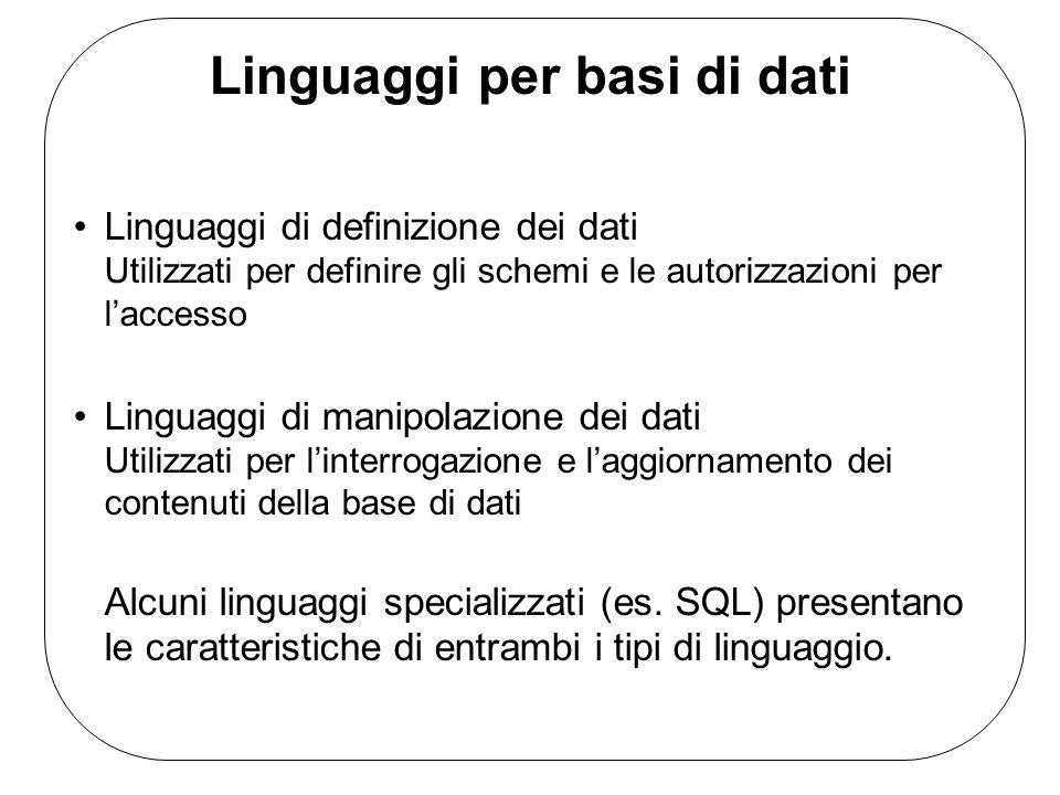 Linguaggi per basi di dati Linguaggi di definizione dei dati Utilizzati per definire gli schemi e le autorizzazioni per laccesso Linguaggi di manipola