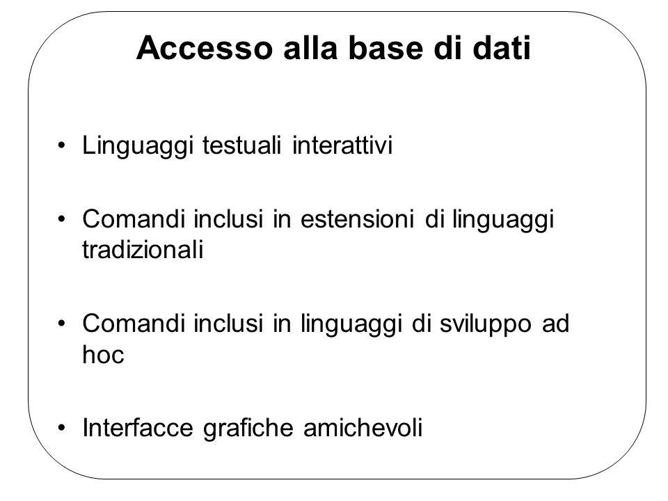 Accesso alla base di dati Linguaggi testuali interattivi Comandi inclusi in estensioni di linguaggi tradizionali Comandi inclusi in linguaggi di svilu