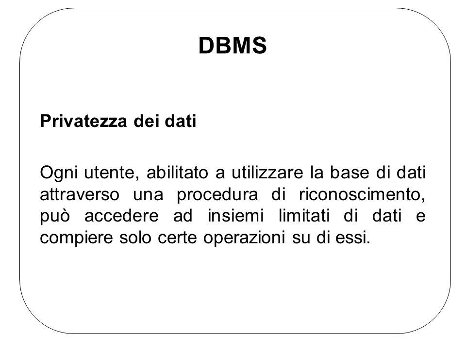 DBMS Privatezza dei dati Ogni utente, abilitato a utilizzare la base di dati attraverso una procedura di riconoscimento, può accedere ad insiemi limit