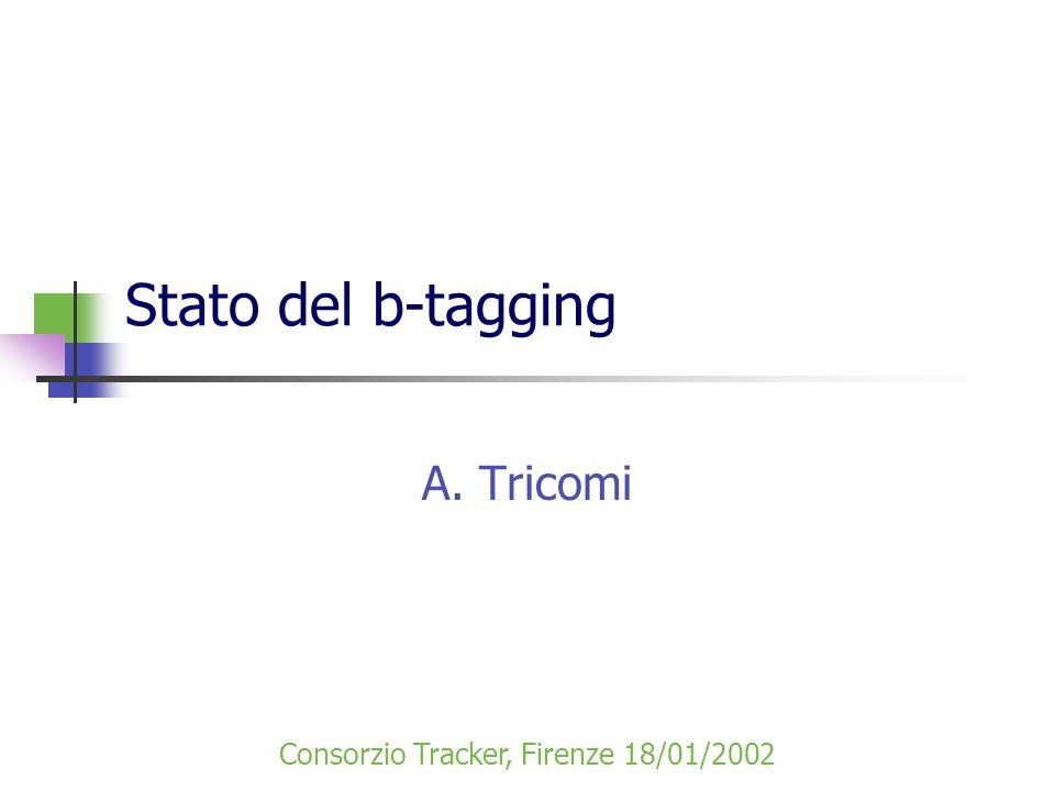 Stato del b-tagging A. Tricomi Consorzio Tracker, Firenze 18/01/2002