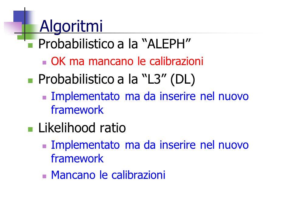 Algoritmi Probabilistico a la ALEPH OK ma mancano le calibrazioni Probabilistico a la L3 (DL) Implementato ma da inserire nel nuovo framework Likelihood ratio Implementato ma da inserire nel nuovo framework Mancano le calibrazioni