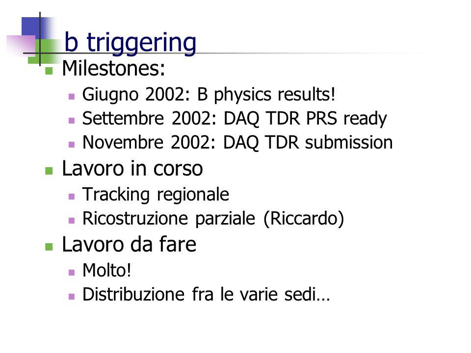 b triggering Milestones: Giugno 2002: B physics results.