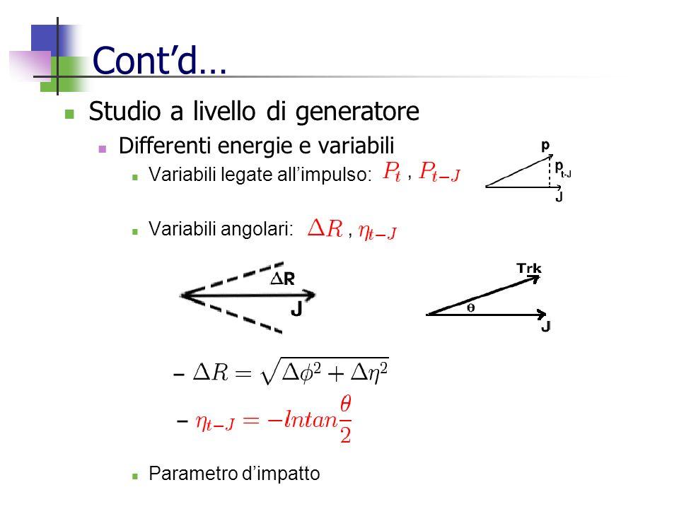 Contd… Studio a livello di generatore Differenti energie e variabili Variabili legate allimpulso: Variabili angolari: Parametro dimpatto