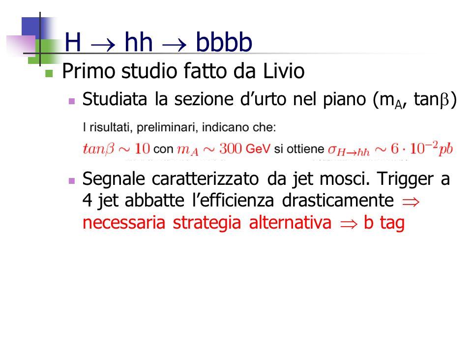 H hh bbbb Primo studio fatto da Livio Studiata la sezione durto nel piano (m A, tan ) Segnale caratterizzato da jet mosci.