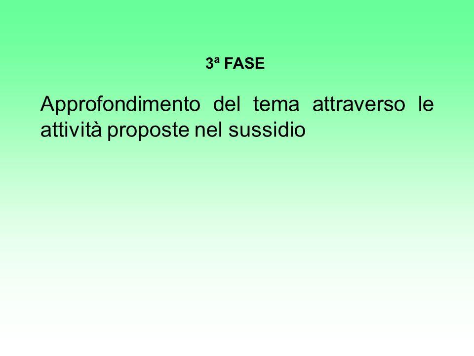 Approfondimento del tema attraverso le attività proposte nel sussidio 3ª FASE