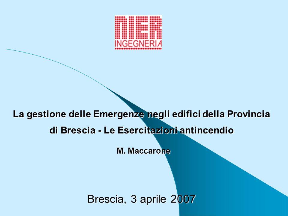 La gestione delle Emergenze negli edifici della Provincia di Brescia - Le Esercitazioni antincendio M. Maccarone Brescia, 3 aprile 2007