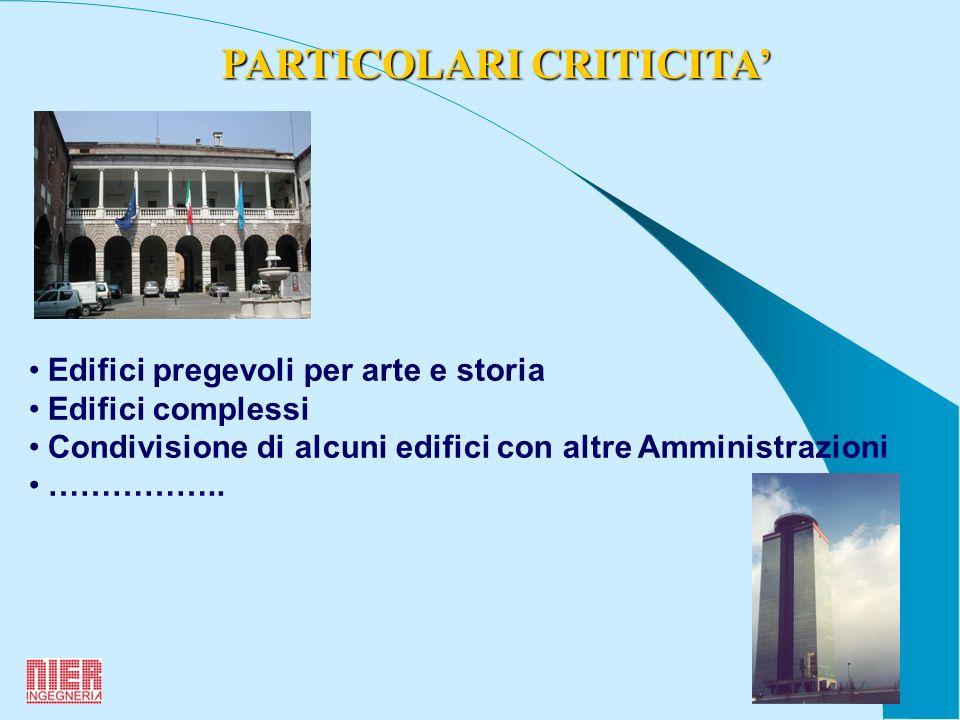 4 PARTICOLARI CRITICITA Edifici pregevoli per arte e storia Edifici complessi Condivisione di alcuni edifici con altre Amministrazioni ……………..