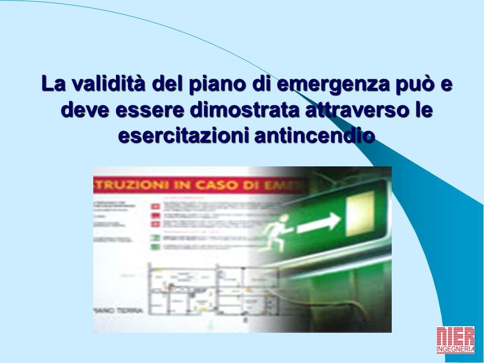 6 La validità del piano di emergenza può e deve essere dimostrata attraverso le esercitazioni antincendio