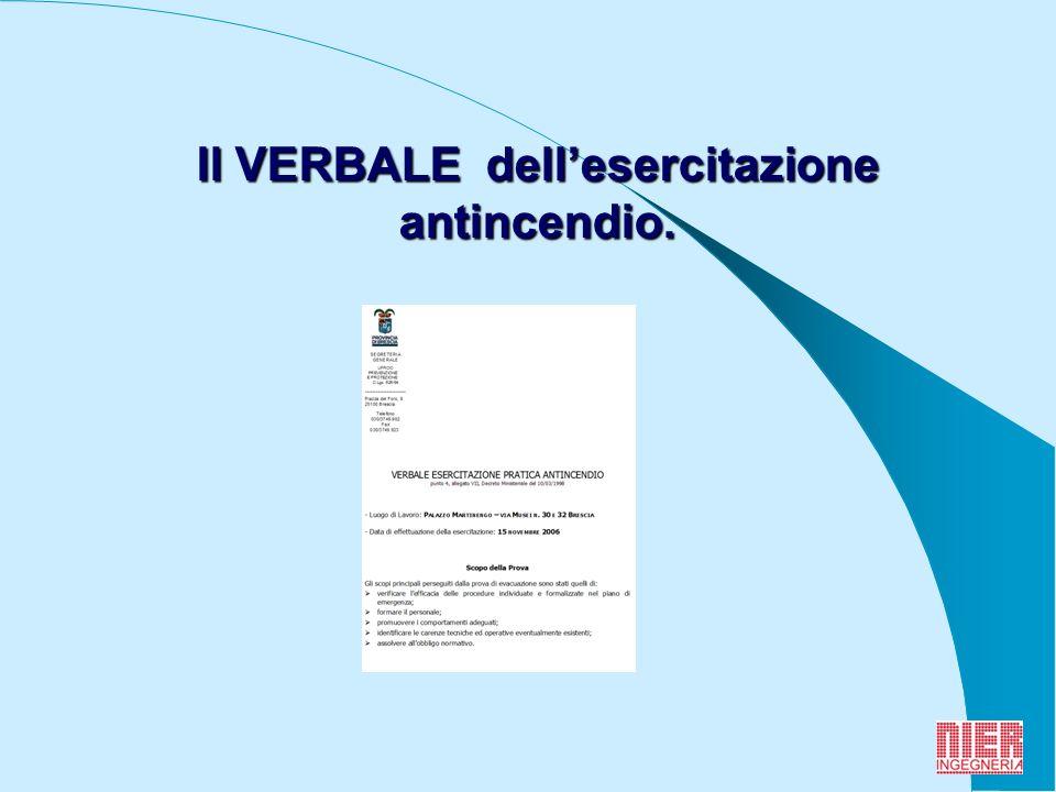 9 Il VERBALE dellesercitazione antincendio.