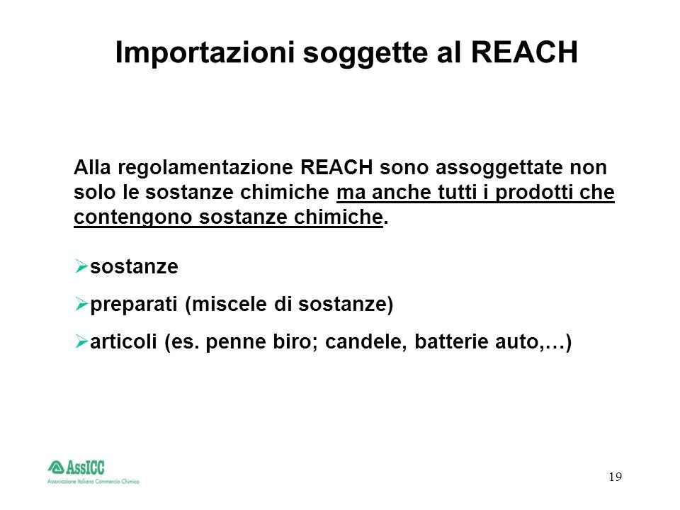19 Importazioni soggette al REACH Alla regolamentazione REACH sono assoggettate non solo le sostanze chimiche ma anche tutti i prodotti che contengono sostanze chimiche.